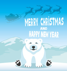 Polar bear and Santa Claus.