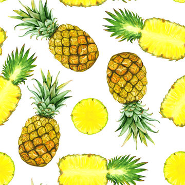 hand drawn watercolor pineapples