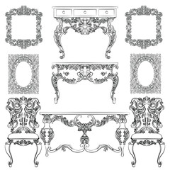Vector collection of Baroque style furniture. Vintage Vector set of Antique Royal furniture. different rich detailed ornamented elements