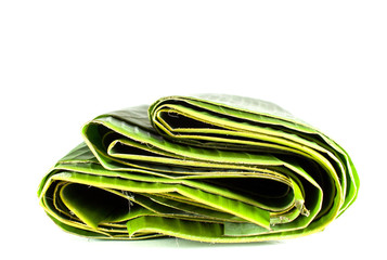 green banana leaves isolate with white background