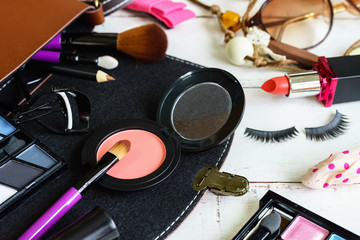 various makeup products and accessories