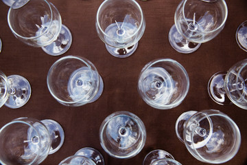 Empty glasses set in restaurant, top view