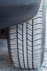 tire of car on the road