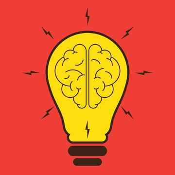 yellow brain light bulb