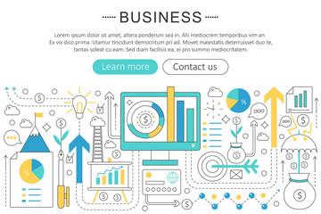 Vector elegant thin line flat modern Art design Business finance discipline concept. Website header banner elements layout. Presentation, flyer and poster.