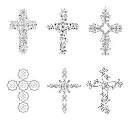 Set of Crosses (Crucifix), Religious Design Elements, Vector Set