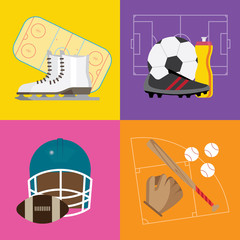 composition with sports equipment