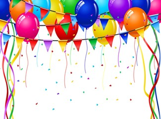 Colorful Celebration Background with Party Balloons