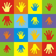 Illustration pattern colorful set of handprints family of mother, father, son and daughter isolated on white background