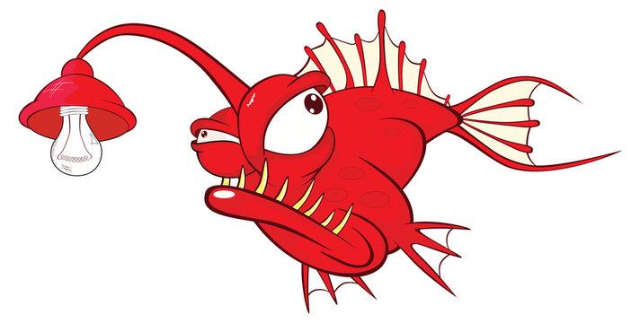 Illustration of a Monk fish. Deep-water fish. Cartoon Character