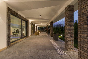 Modern architecture design of luxury villa exterior Wall mural