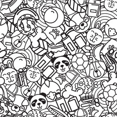 Vector seamless pattern with flat pets icons. Goods for animals. Design for pet shop, pets care, grooming or veterinary. Black and white trendy background for textile print or wrapping, coloring book.
