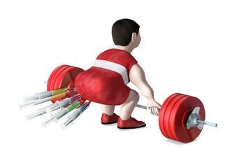 Gewichtheber mit Spritzen im Hintern