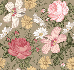 Seamless pattern. Beautiful pink blooming realistic isolated flowers. Vintage background. Chamomile Rose hibiscus mallow wildflowers. Wallpaper. Drawing engraving. Vector victorian Illustration.