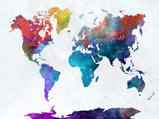 Wall Mural - World map in watercolor