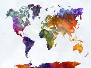 Obraz Kolorowa abstrakcyjna mapa świata - fototapety do salonu
