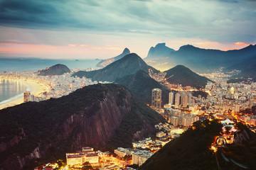 Fototapete - Night view of Rio de Janeiro, Brazil