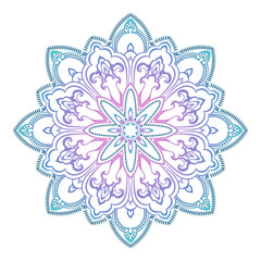 Abstract ethnic colored mandala ornamental pattern. Unique oriental style hand drawn design elements