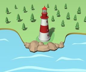 Lighthouse on the coast. 3d illustration