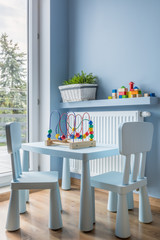 Light blue toddler table and chair idea