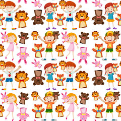 Seamless background with kids and puppets