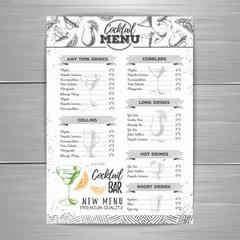 Vintage cocktail menu design.