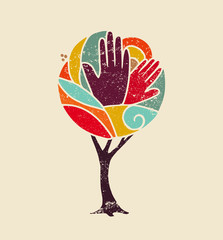 Wall Mural - Color concept tree with diversity people hands