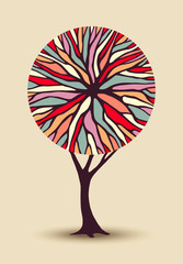 Abstract tree illustration with colorful shape