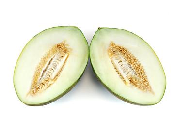 fresh melon cut in half