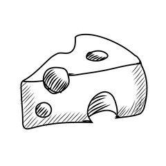 drawn Piece of cheese icon on isolate wite background. Piece of cheese sketch icon for infographic, website or app.