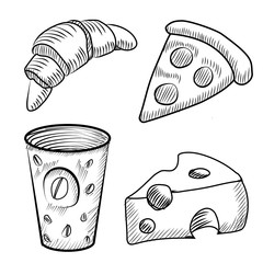 food, croissant, coffe cup, cheese, and pice of pizza. hand drawn set of pictures