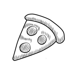 Doodle style pizza. Hand drawn illustrations
