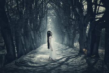 Halloween mystical forest with ghost