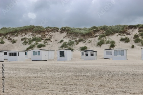 Beach with sand dunes and small bath houses in lokken north jutland denmark europe - The jutland small house ...
