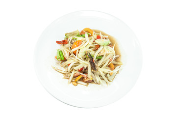 papaya salad on white dish ,Thailand style food