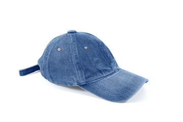 Jeans cap ,denim hat on a white background.