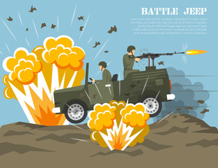 Military Army Battle Environment Flat Poster
