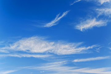 Blue sky and white wave clouds, blue sky for background.