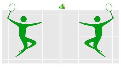 Silhouette of badminton players. Minimalism. Icon.