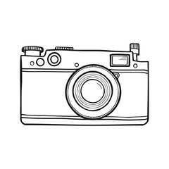 Vector black and white illustration with retro photo camera