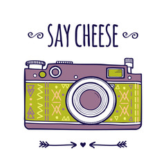 "Vector illustration with cute retro photo camera and typography phrase ""Say cheese"""