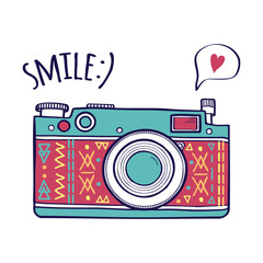 "Vector illustration with cute retro photo camera, typography phrase ""Smile"" with speech bubble and heart. Modern design"