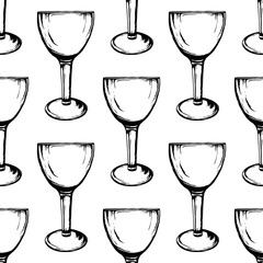 Vector seamless pattern with wine glasses on white background. Hand drawn style.