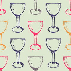 Vector colorful seamless pattern with wine glasses. Hand drawn style.