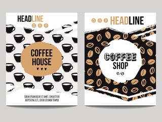 Vector set of modern posters with coffee backgrounds. Trendy hipster templates with coffee beans and cups patterns for flyers, banners, invitations, restaurant or cafe menu design.
