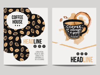 Vector set of modern posters with coffee backgrounds. Trendy hipster templates with coffee beans pattern and cup with smear for flyers, banners, invitations, restaurant or cafe menu design.