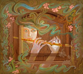Dreamful melody. Oil painting on wood.