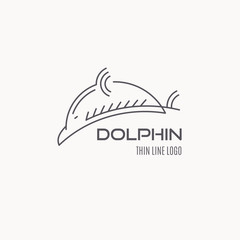 Line style nautical logo - dolphin fish illustration.