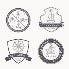 Set of nautical seafaring badges, labels and logos