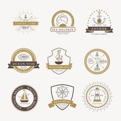 Set of nautical seafaring badges, labels and logos